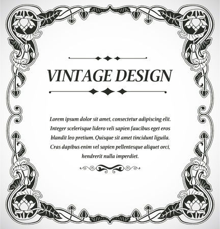 hand drawn frame: The image Vintage style design Illustration