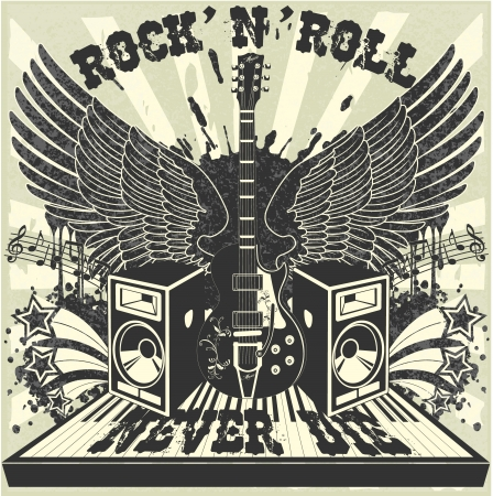 rock n: The image of Rock n Roll never die Illustration