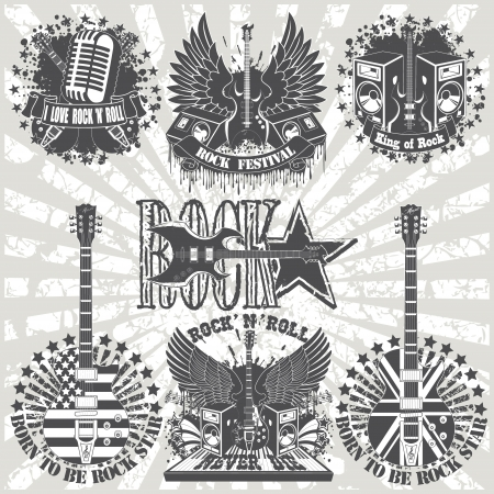 The image of Set of stickers on shirt with musical instruments
