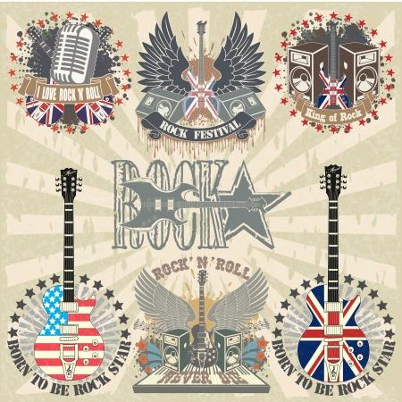 bandera inglaterra: La imagen de conjunto de pegatinas en la camiseta con instrumentos musicales Vectores