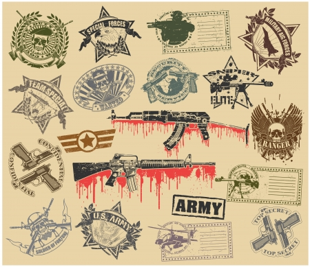 Set of stamps with the image of military symbols