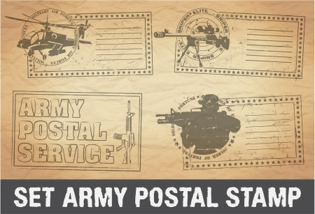 The image of color Set of postage stamps army Vector