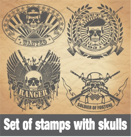 military beret: The image Set of stamps with skulls
