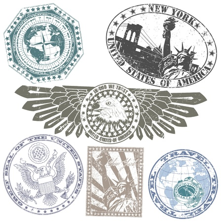 The image of Set of American stamps Stock Vector - 15483547