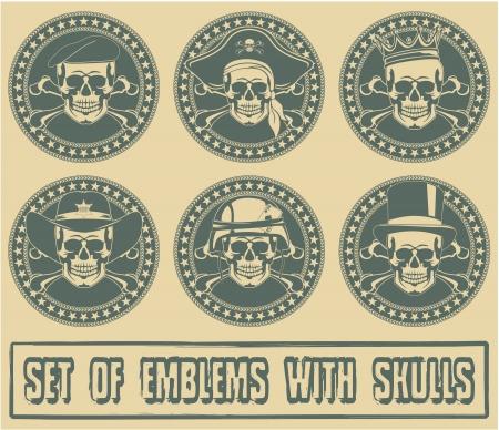 estrellas  de militares: La imagen del conjunto de emblemas con calaveras