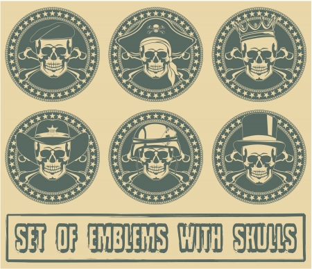 gangsters: The image of Set of emblems with skulls