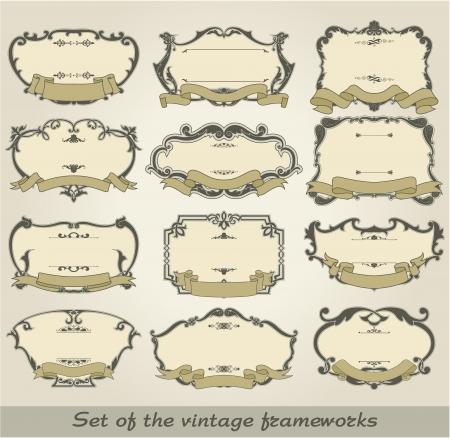 The image of color Set of the vintage frameworks Stock Vector - 15483534