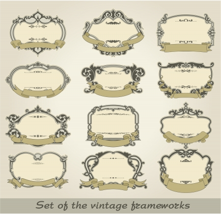 The image of color Set of the vintage frameworks Stock Vector - 15483519