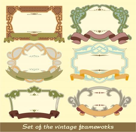 The image of color Set of the vintage frameworks Stock Vector - 15483527