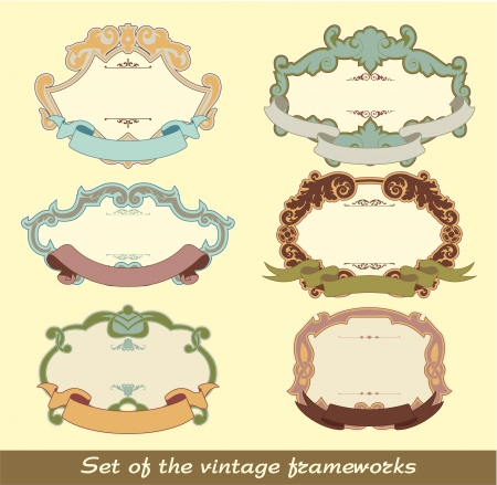 The image of color Set of the vintage frameworks Vector