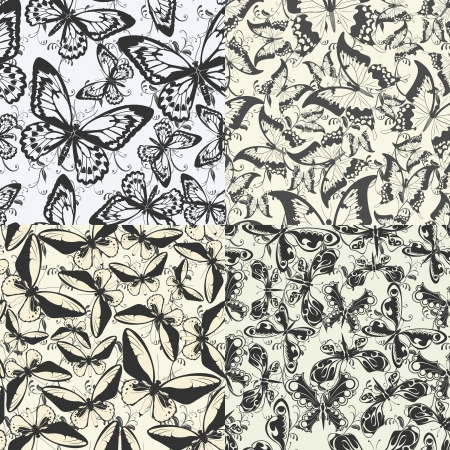 image of color Set of seamless pattern with butterflies Stock Vector - 15483541