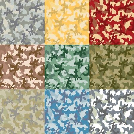 위장의 색상의 샘플 세트의 이미지
