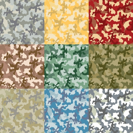 image of the Set of samples of a coloring of a camouflage Vector