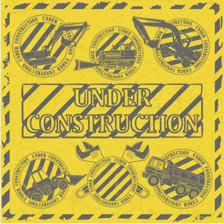 The image Set under construction stamp Vector