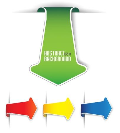 freccia giù: L'immagine Set frecce sotto forma di adesivi di carta Vettoriali