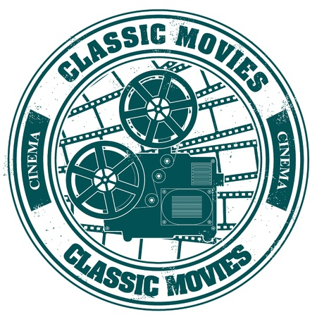 The  image Stamp with the image of a retro of cinema of a projector and the text classic movies Stock Vector - 15634690