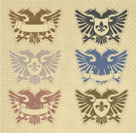 The image Set of heraldic stamps Vector