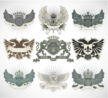 grunge wings: Set di simboli araldici
