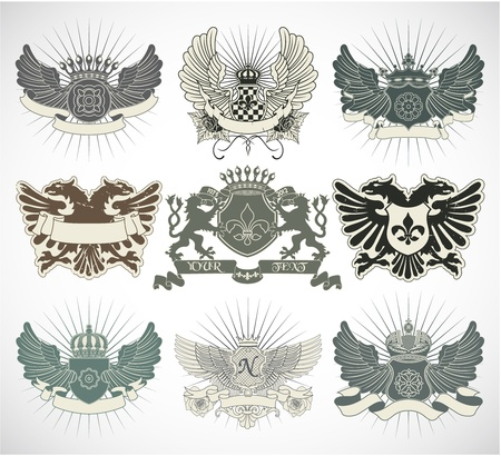 Set of heraldic symbols Stock Vector - 15765380