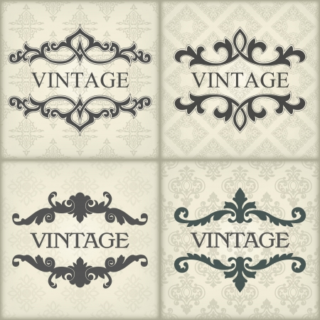inbjudan: Bilden Uppsättning vintage mall med blommig ram