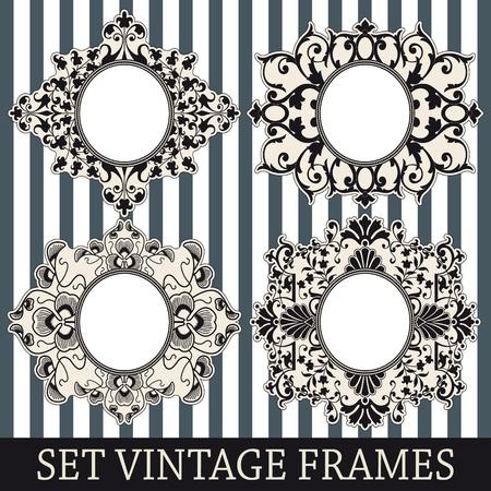 The image Set vintage frames Vector