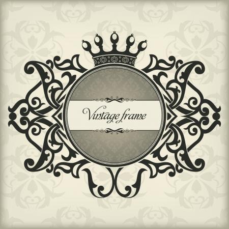 The image Vintage frame with crown Illustration