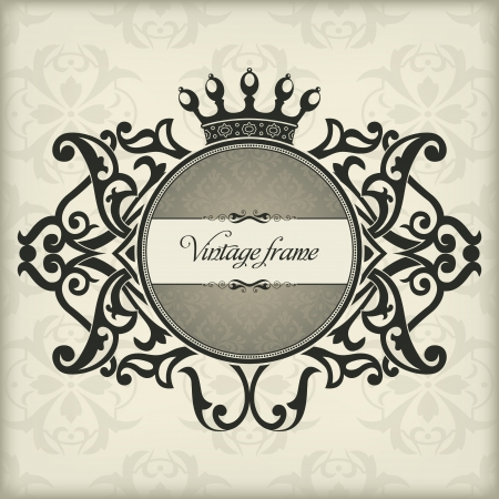 The image Vintage frame with crown Vector