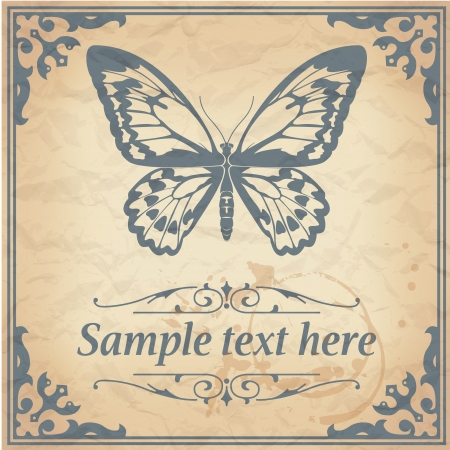 image of color Butterfly on paper background vintage style Vector