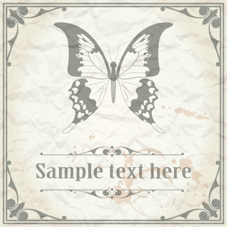 butterfly hand: image of color Butterfly on paper background vintage style