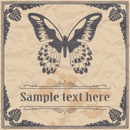 Butterfly on paper background vintage style Vector