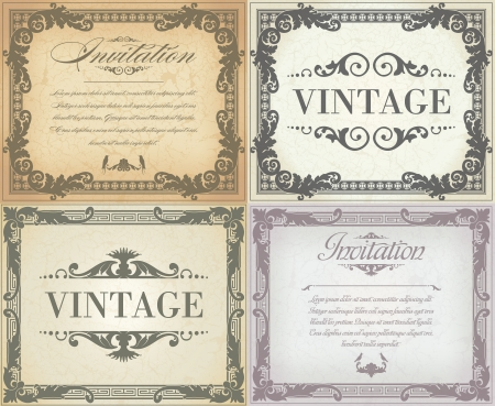 retro illustration: Set of vintage frame