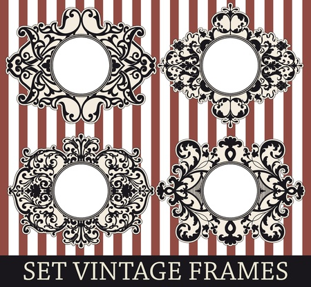 Set vintage frames Stock Vector - 16804135