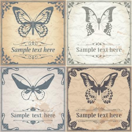 vintage grunge image: Immagine vettoriale di farfalla a colori su carta di sfondo stile vintage