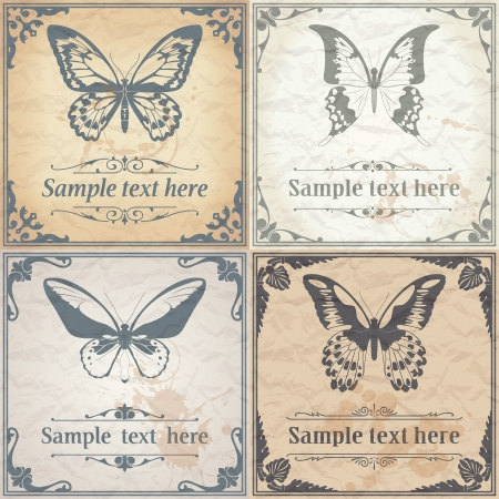 butterfly silhouette: Vector image of color Butterfly on paper background vintage style Illustration