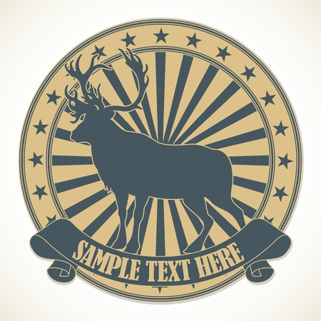 horny: The vector image of Animal stamp
