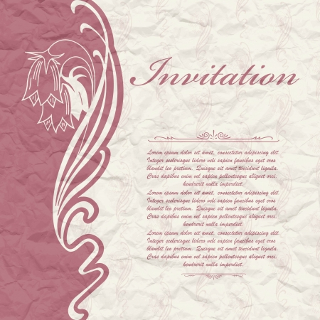 The vector image of Vintage background for the invitation with flowers Vector
