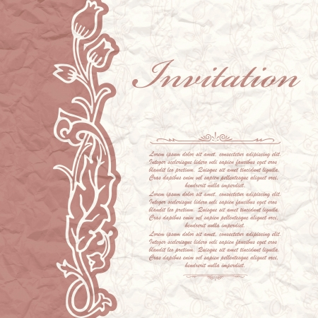 The vector image of Vintage background for the invitation with flowers Stock Vector - 17696641