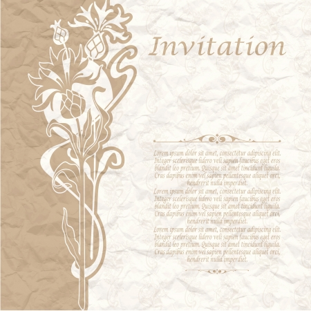 The image of Vintage background for the invitation with flowers Stock Vector - 17949004