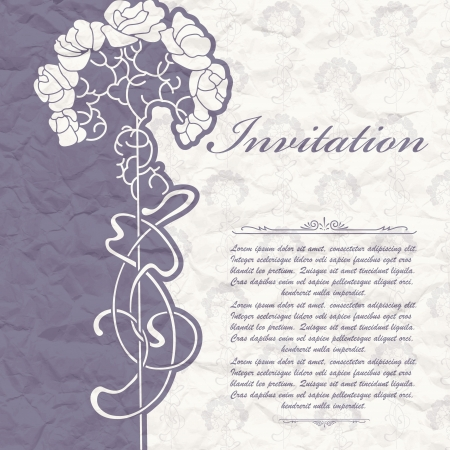The image of Vintage background for the invitation with flowers Vector