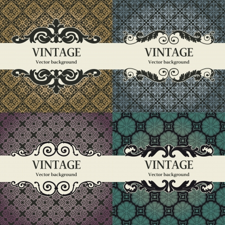 rasterized: The vector image Set of vintage vector background
