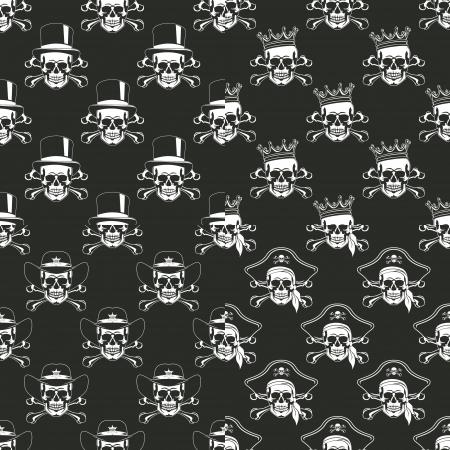 skull logo: The image Set of backgrounds Seamless emblems of skulls