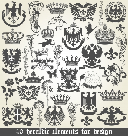 The vector image of Set of heraldic elements for design Vector