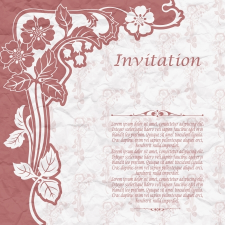 The image of Vintage background for the invitation with flowers Stock Vector - 19187079