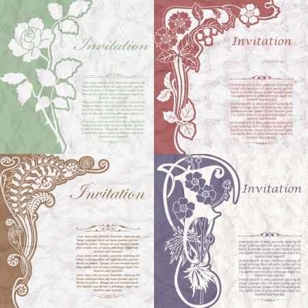 The vector image of Set of vintage background for the invitation with flowers
