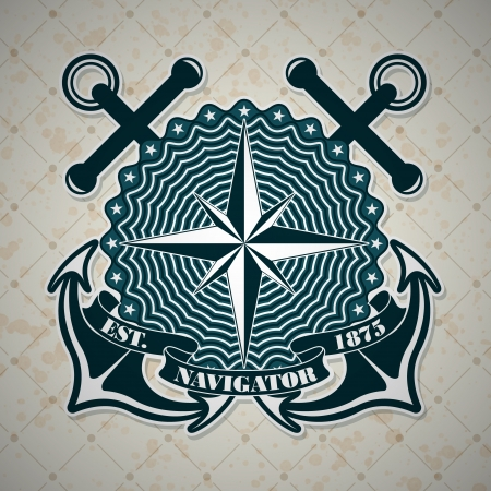 marine industry: The vector image Vintage label with a nautical theme