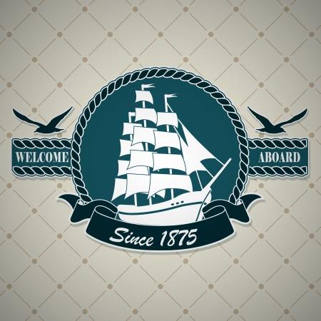 vecchia nave: Il vettore di immagine etichetta vintage con un tema nautico