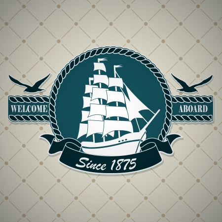 sailing ship: The vector image Vintage label with a nautical theme