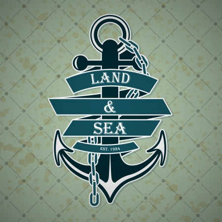The vector image Vintage label with a nautical theme