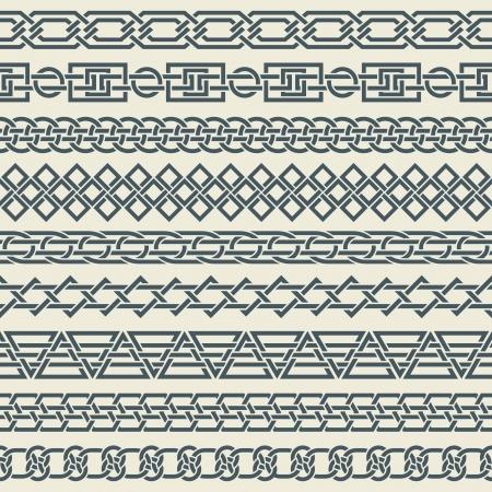 fita: A imagem do vetor de um conjunto de fronteiras sem emenda do vintage na forma de ornamento celta
