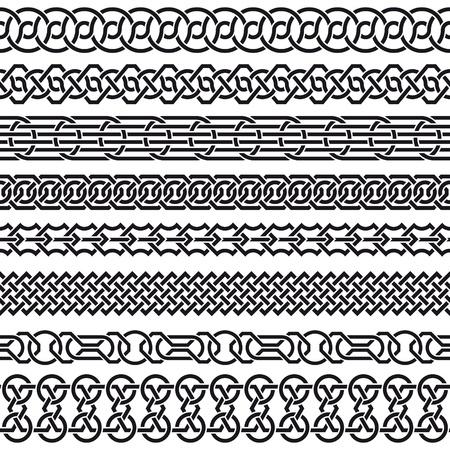keltische muster: Der Vektor Bild der Satz von nahtlose vintage Grenzen in Form von keltischen Ornament Illustration
